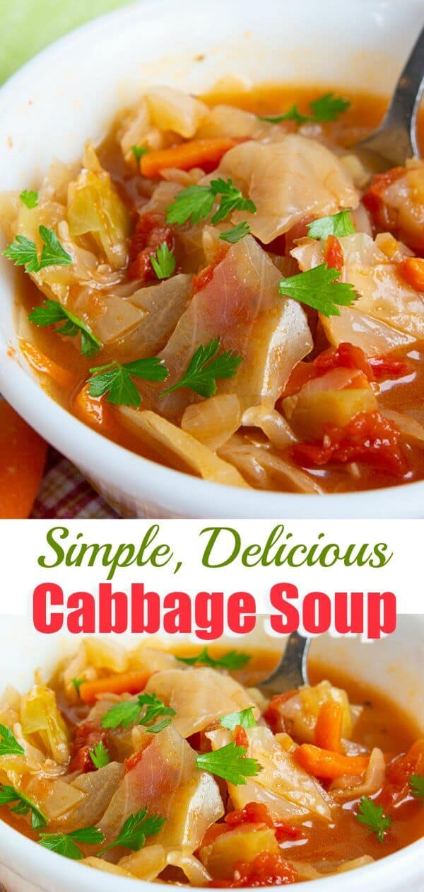 "How to make a simple, easy cabbage soup. Forget eating it as a ""diet"" food, eat it because it's delicious, healthy and a great way to up your vegetable intake. #soup #cleaneating #cabbage #recipe #healthy #tomatoes #onions #garlic #dietsoup"