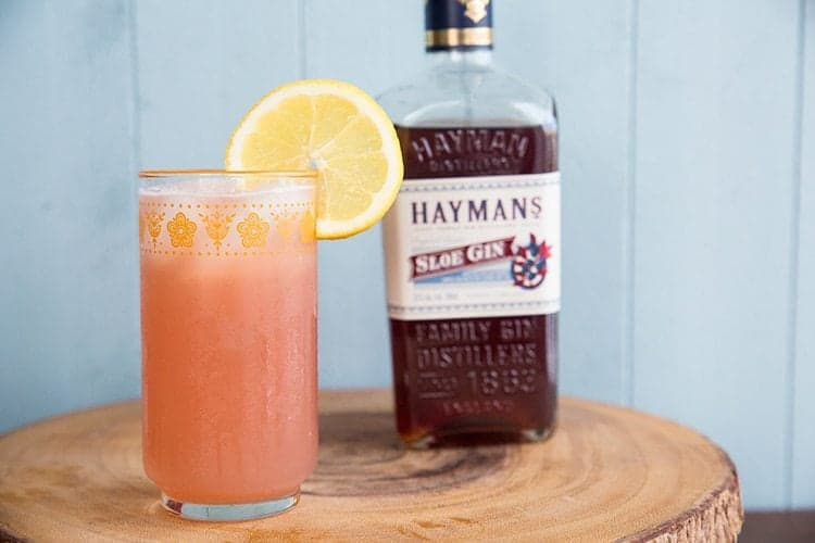 a glass of Sloe Gin Fizz garnish with a slice of lemon, a bottle of Hayman's brand sloe gin at the back