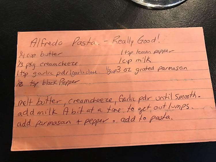 Alfredo Sauce recipe written on recipe card
