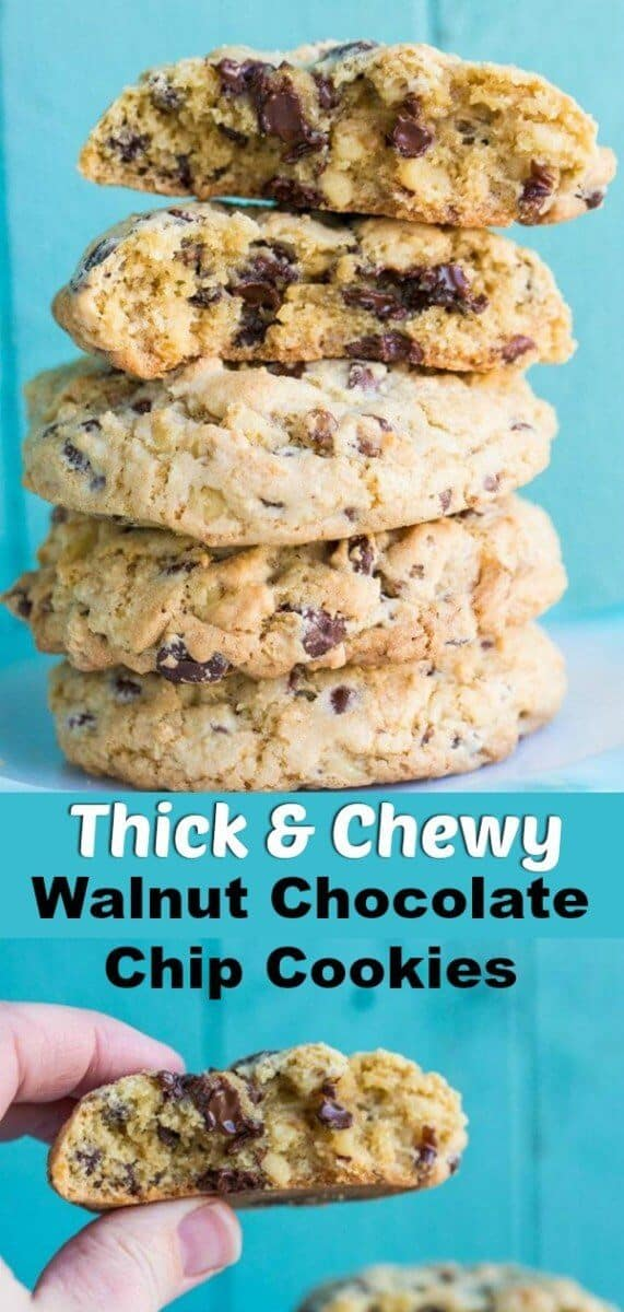 These chunky chocolate chip cookies are loaded to the brim with old-fashioned walnut goodness and are the perfect chocolate chip cookie in my humble opinion! #cookies #chocolatechipcookies