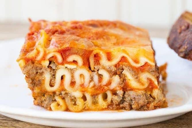 close up Cottage Cheese Lasagna in white plate