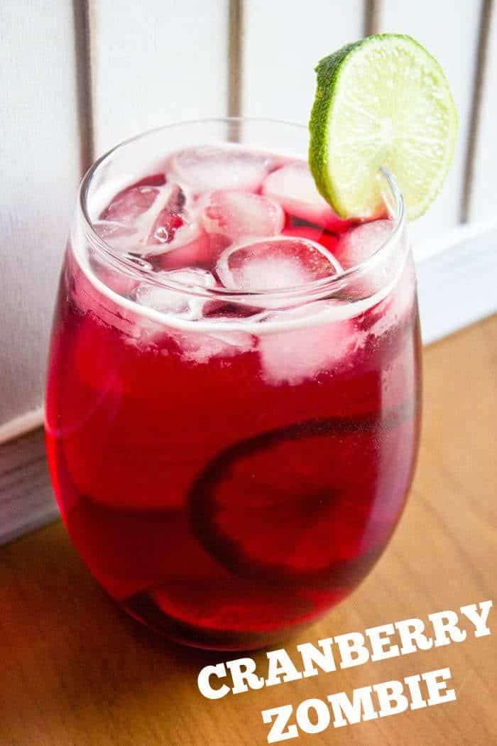 Cranberry Zombie Recipe - three different types of rum?? No wonder it's called a ZOMBIE!