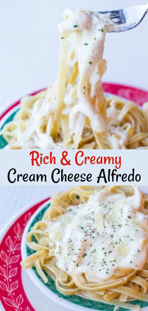 Only 5 ingredients and you have an amazing Alfredo Sauce With Cream Cheese! The cream cheese adds a lovely tang and creaminess to the sauce. #alfredo #pasta