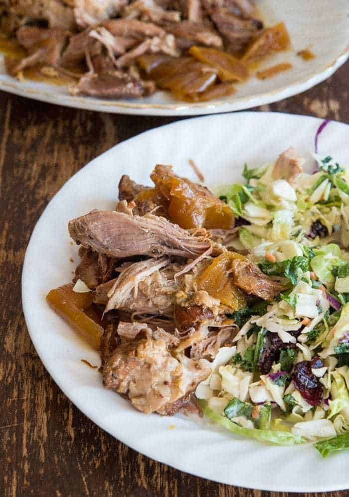 Crockpot Apple Juice Pulled Pork from @kitchenmagpie