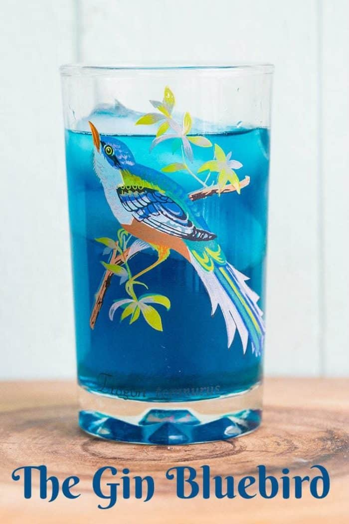 A light and delicious cocktail made from Gin, Blue Curacao and bitters, the Bluebird cocktail is an excellent, easy to make vintage cocktail. #gin #bluecuracao