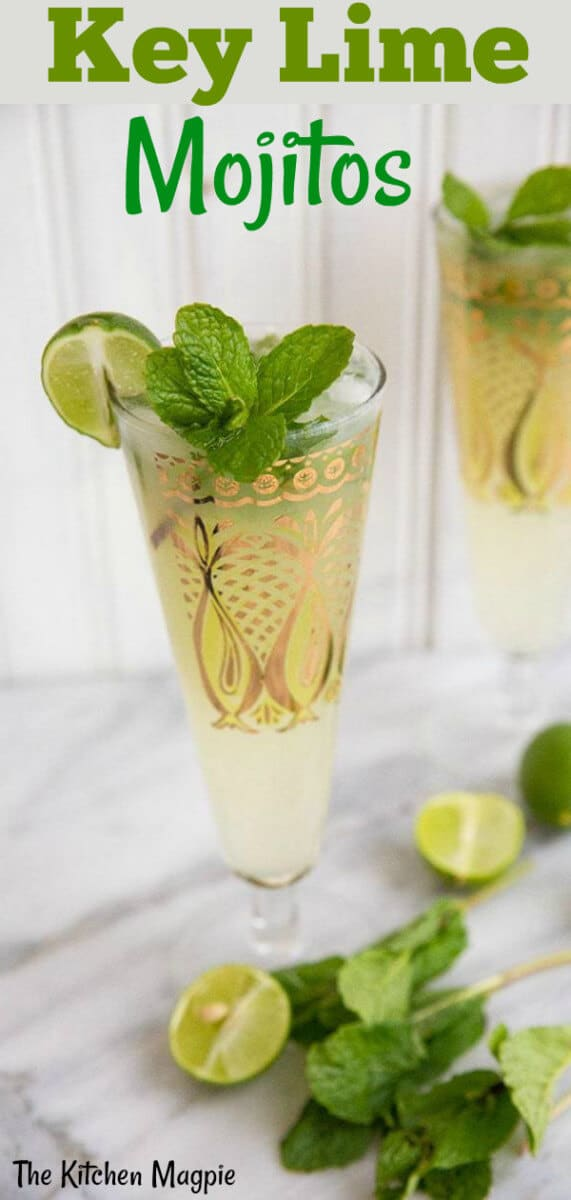 These minty, delicious key lime mojitos taste just like spring. With a combination of white rum and simple syrup, you are going to feel like you are in a lawn chair on the beach. #lime #mojitos #rum #cocktail
