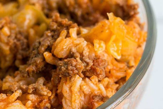 Close up Cabbage Roll Casserole in a clear large bowl