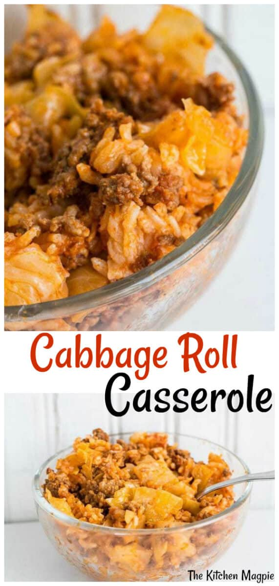 This delicious Lazy Cabbage Roll Casserole tastes exactly like homemade cabbage rolls - but only a third of the work! #cabbage #rice #casserole
