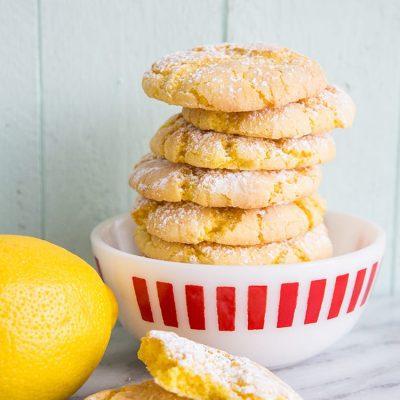 Lemon Crinkle Cake Mix Cookies