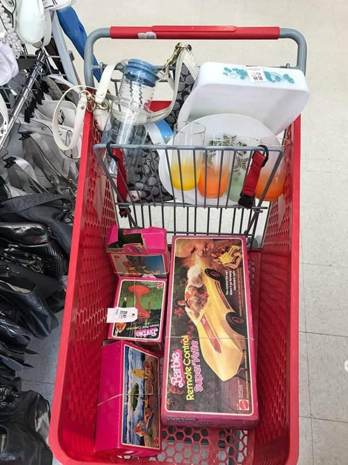 Karlynn's Thrift Hauls! Pyrex and rare Pop art this time around! A cart full of Vintage Barbie toys in their boxes!