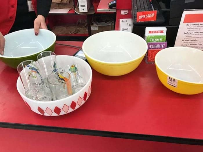 Pyrex yellow primary 404 and Federal Glass Red Diamonds bowl.