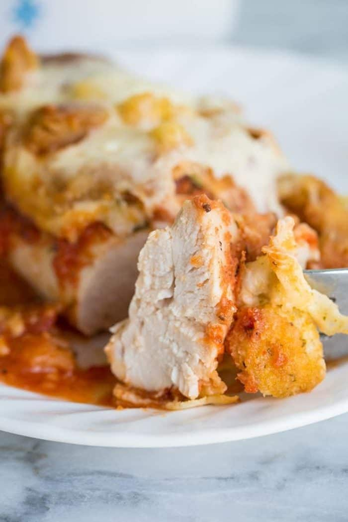 Parmesan Chicken Casserole. Topped with crunchy garlic croutons and cheese, this is the perfect supper!