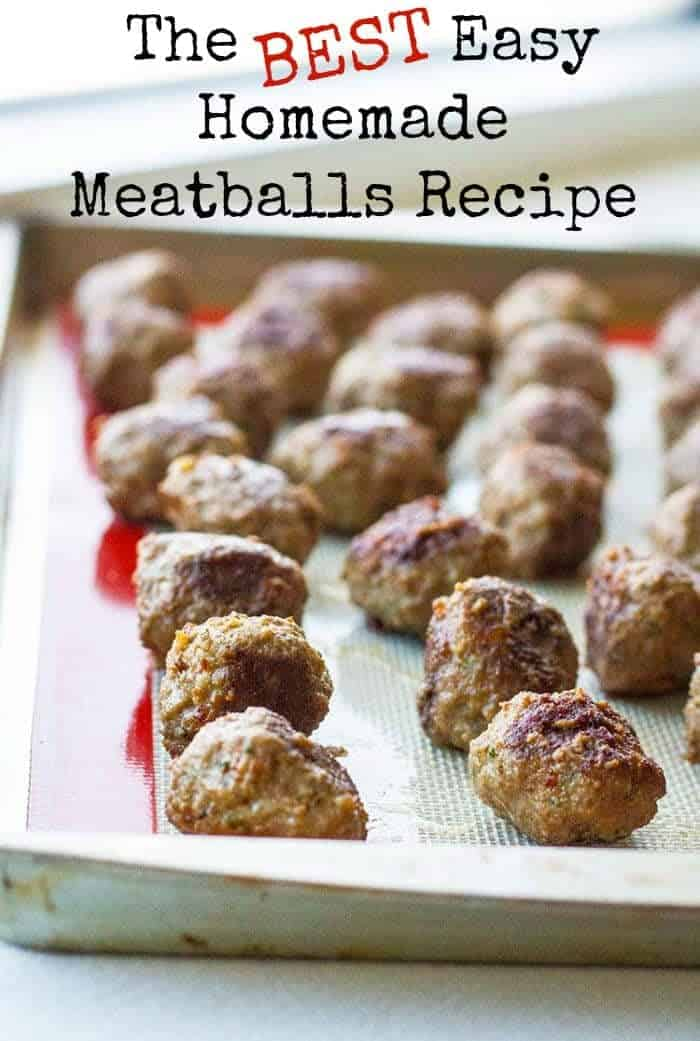 easy homemade meatballs on a baking sheet