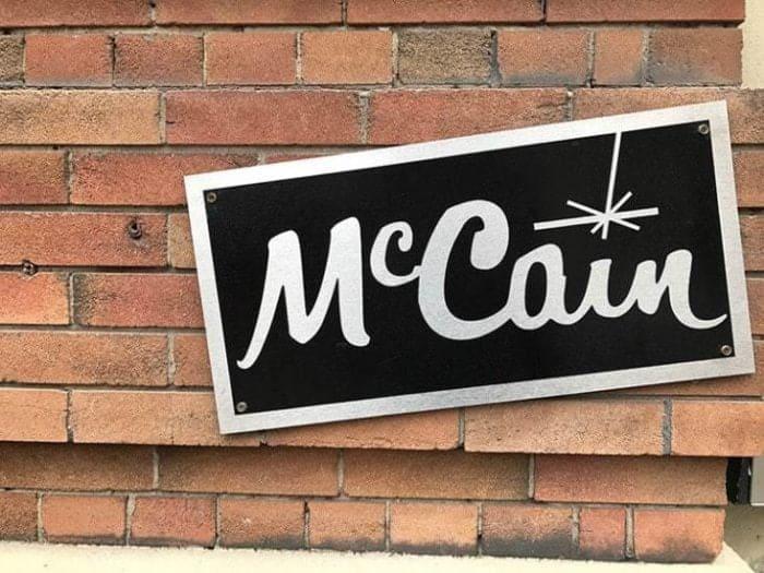 McCain signage on brick wall