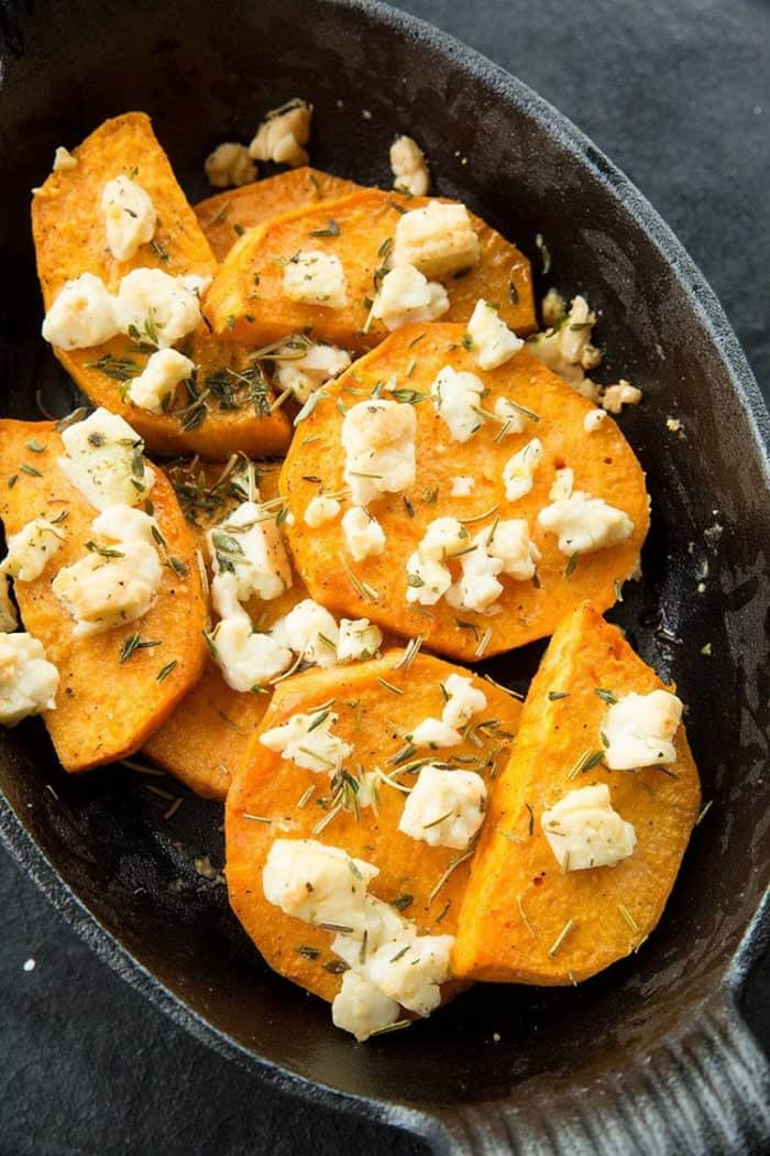 Close up of Baked Herbed Sweet Potatoes & Feta in Large Bowl