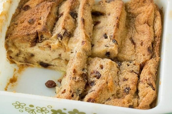 slices of Bread and Butter Pudding in pan