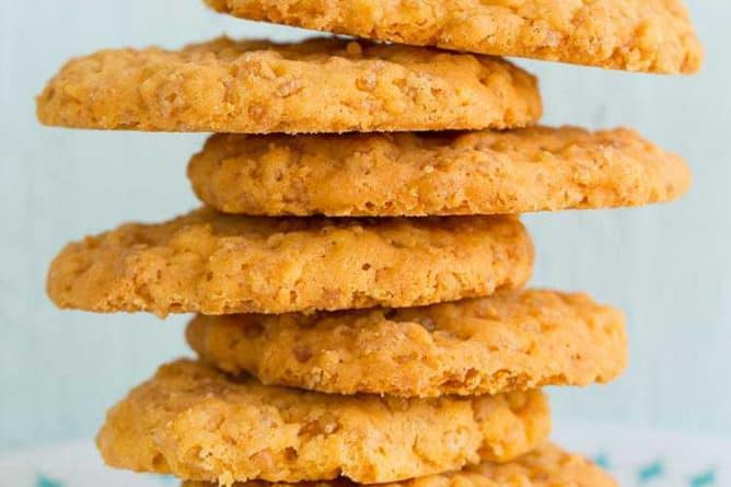 Close up Stack of Rice Krispies Cheese Crisps