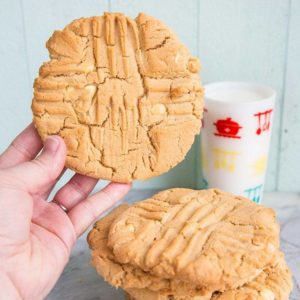Giant Double Peanut Butter & White Chocolate Chunk Cookies