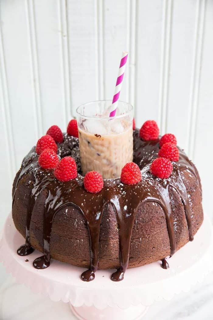 Raspberry Kahlua Mudslide Cake from @kitchenmagpie