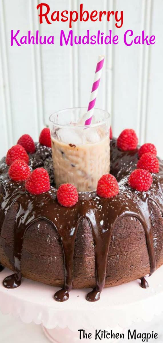 Raspberry Kahlua Mudslide Cake - it doesn't get more decadent than this cake! #raspberry #chocolate #bundtcake #chocolatecake