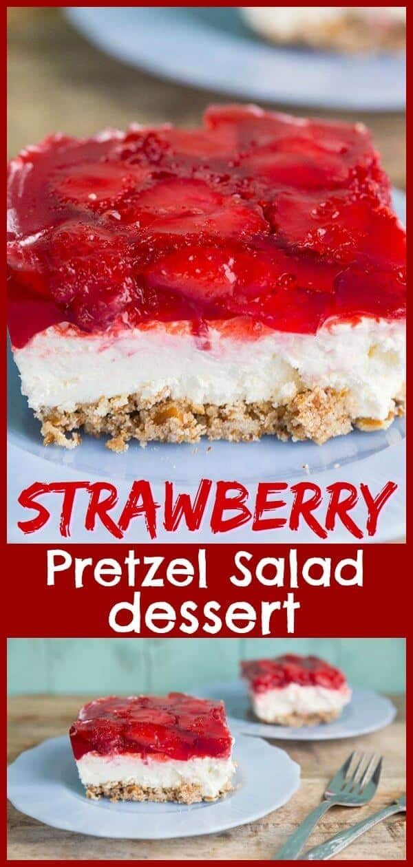 This strawberry pretzel salad (or strawberry pretzel dessert) is a retro party favourite! Make this for your next party, your guests will love it! #strawberry #jello #pretzel #dessert #picnic #treat #sweet #baking #recipe #BBQ
