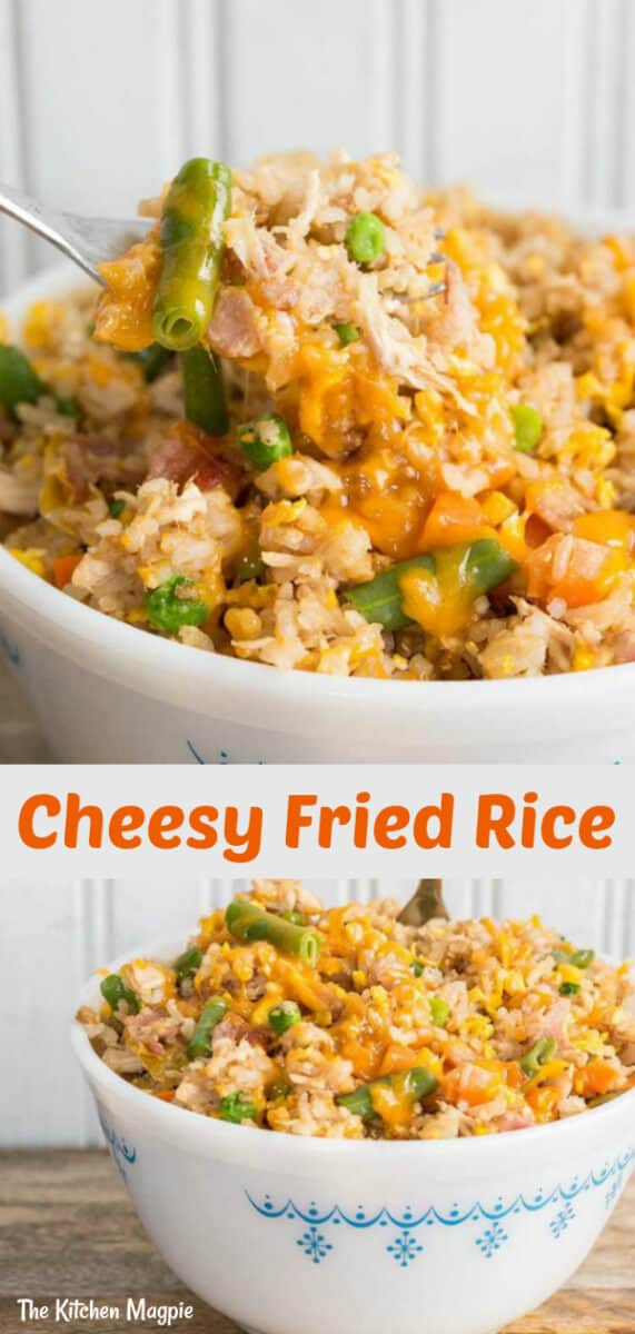 How to Make Easy Fried Rice~ This homemade fried rice is the BEST and the easiest fried rice recipe that you will ever make at home! And yes, we top it with cheese! #rice #friedrice