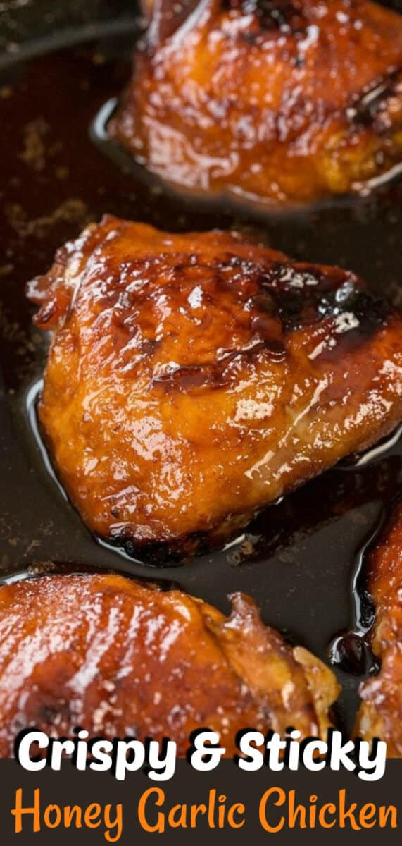 Mom's easy honey garlic chicken recipe is the best around - it's only FIVE INGREDIENTS that you have in your fridge and uses chicken thighs or breasts! #honeygarlic #chicken #chickenthighs #chickenbreast #recipe