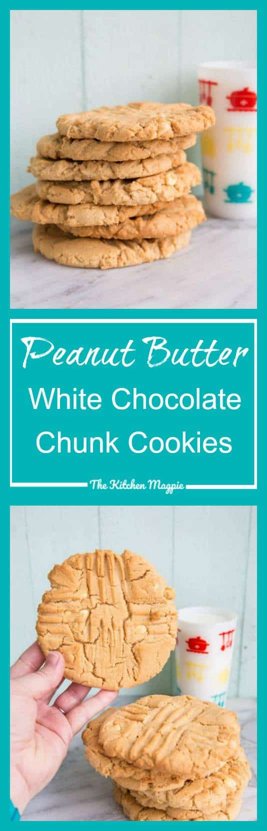 Double Peanut Butter White Chocolate Chunk Cookies from @kitchenmagpie