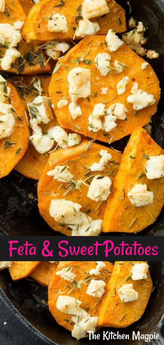 You don't even feel like these baked herbed sweet potatoes and feta are healthy for you since they are so delicious, but they are! #sweetpotatoes #feta #cheese #healthy