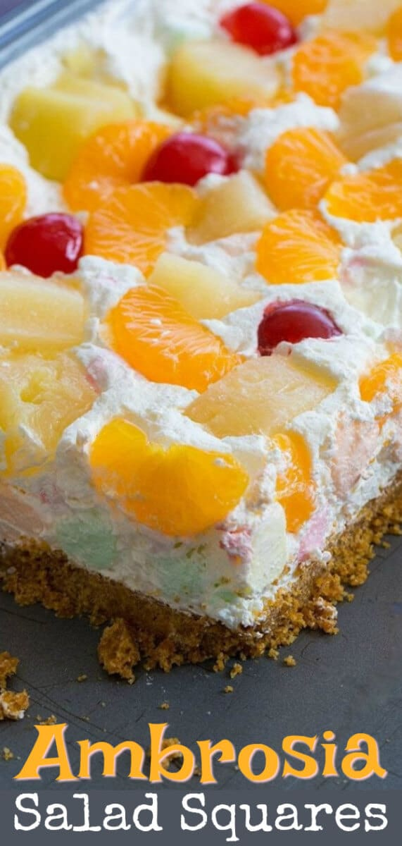 If you love Ambrosia Salad, then you will love these Ambrosia Salad Squares! They slice like a dream and I love them so better than the salad! #ambrosia #pineapple #mandarin #dessert #picnic
