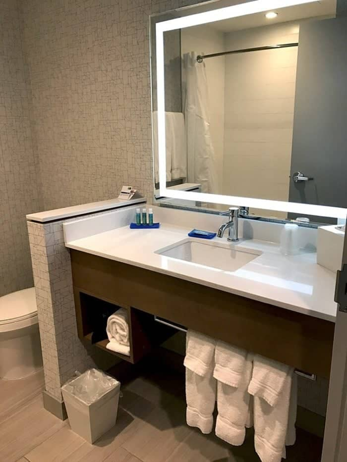 Clean and huge bathroom at the Holiday Inn Express West Edmonton Mall Area!