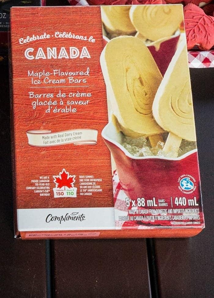 Box of Maple-Flavoured Ice Cream Bars