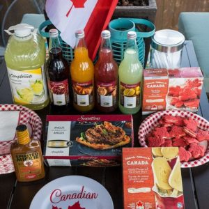 Sobeys products for BBQ all in a table with the a Canadian Flag