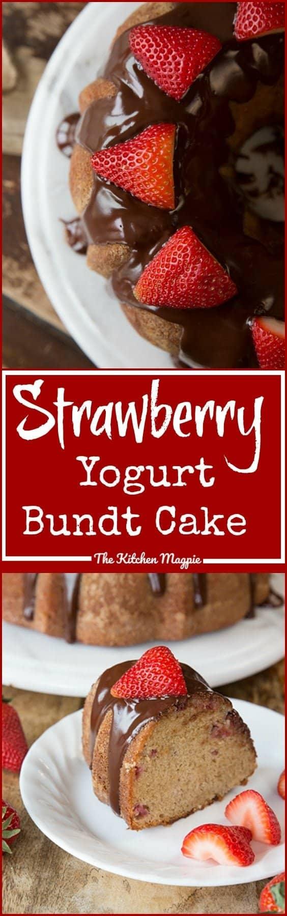 Chocolate Glazed Strawberry Yogurt Bundt Cake from @kitchenmagpie