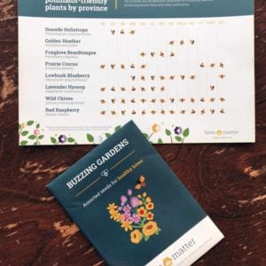 seed packet and a card showing what better time to plant a pollinator