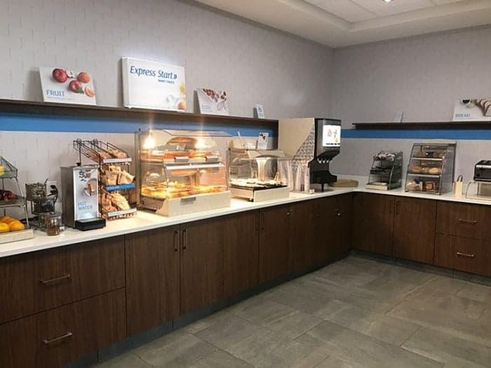 super clean breakfast area with breakfast buffet
