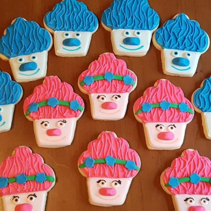 close up of rolled sugar cookies that looks like the popular Trolls character
