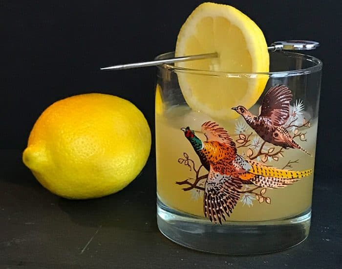 Boating Punch Cocktail in a vintage glass garnish with a slice of lemon