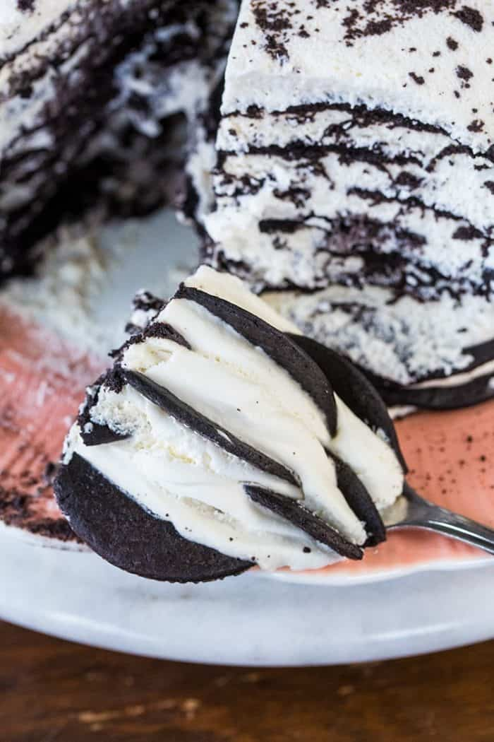a slice of Chocolate Wafer Icebox Cake in a spoon
