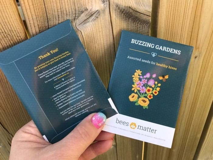 two free seed packets on wood background