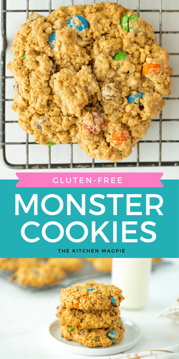 How to make the BEST soft-baked Monster Cookies using the original recipe - plus my secret ingredient that helps keep these monster cookies from falling apart! #glutenfree #monstercookies #dessert