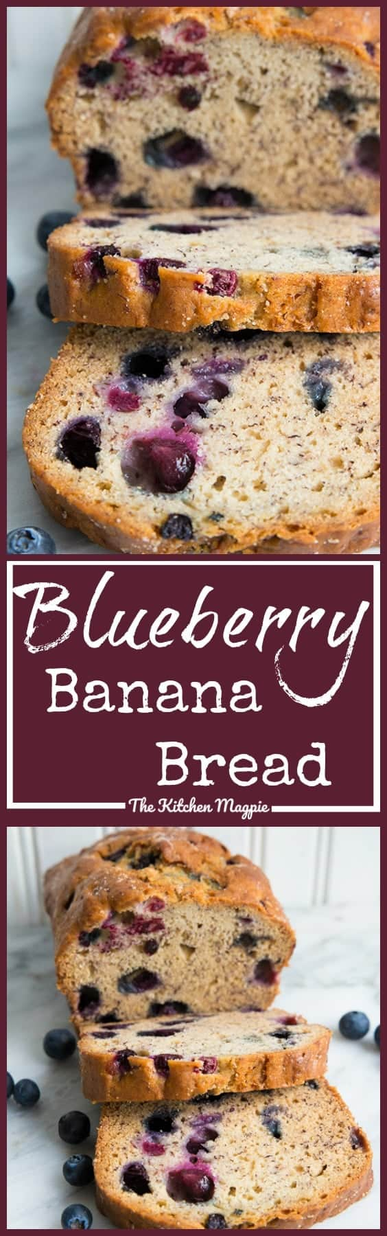 This fabulous Blueberry Banana Bread is another great way to use up those freezer bananas! ( if you're like me, you have a never ending stash of them!) Blueberries are a perfect match with banana, so why not bake them into banana bread?