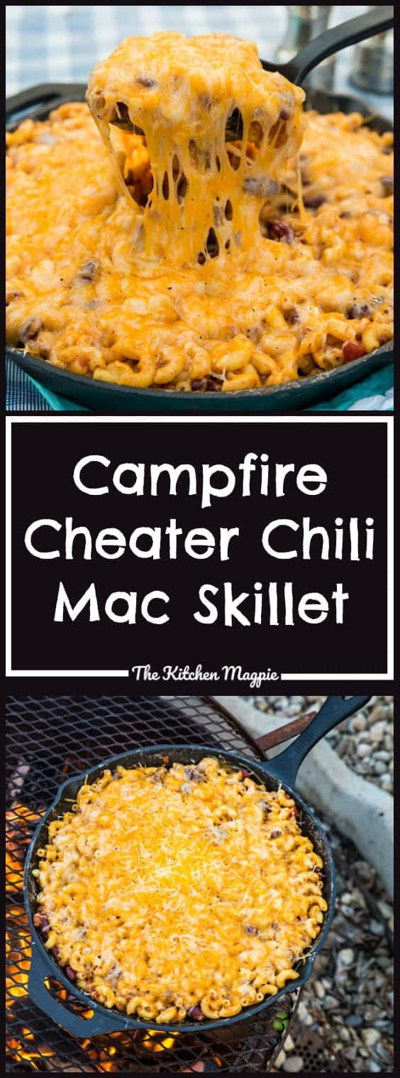 Campfire Cheater Chili Mac Skillet from @kitchenmagpie. This hearty dish will soon become a new camping favourite with your family! Only a few ingredients and it cooks on the campfire perfectly!