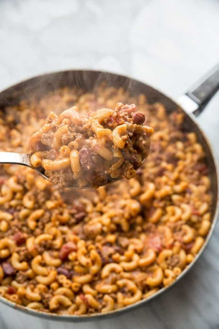 Homemade Cheesy Chili Mac Skillet