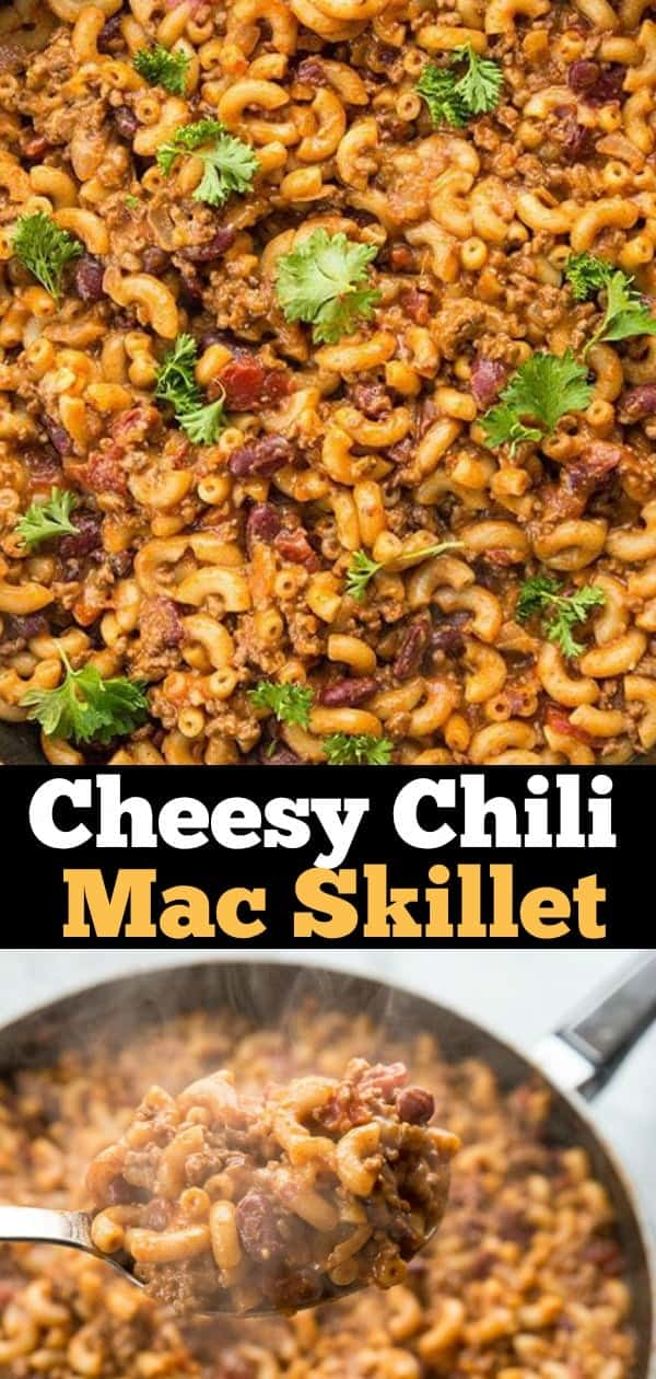 This Homemade Cheesy Chili Mac Skillet has two secret ingredients that make this the BEST cheesy chili mac skillet you are ever going to eat! I promise!#chili #pasta #chilimac #skillet #dinner #supper #recipe #food #cheese #Cheesy