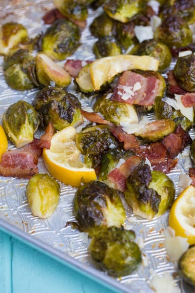 Lemon Bacon Roasted Brussels Sprouts