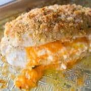 close up of Lemon Garlic Double Cheese Stuffed Chicken in baking sheet
