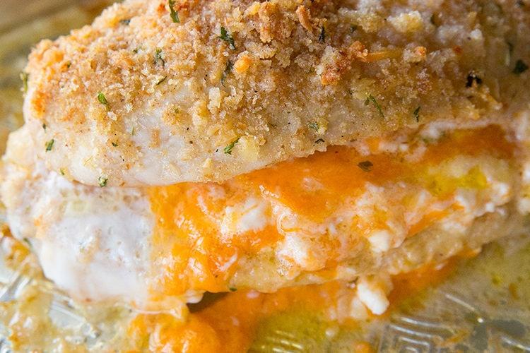 Lemon Garlic Double Cheese Stuffed Chicken