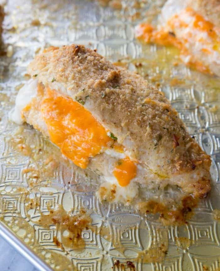Lemon Garlic Double Cheese Stuffed Chicken coated with breadcrumbs, garlic and Romano cheese