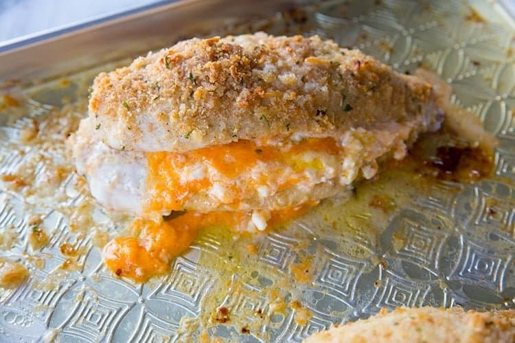 Stuffed Chicken Breast with cheddar and cream cheese in the center